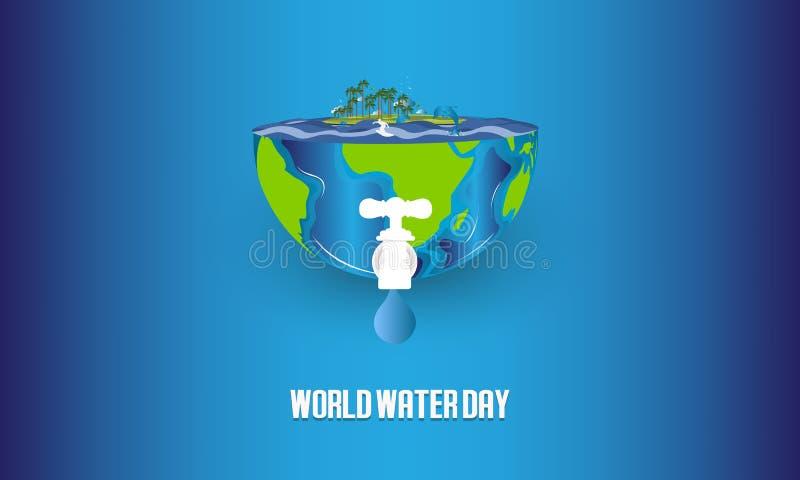 Sparen water De Dagconcept van het wereldwater Vector illustratie - Het vector vector illustratie
