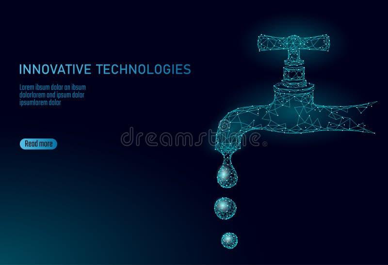 Sparen water laag polyconcept Veelhoekige de planeet oceaan overzeese van de driehoeksecologie veiligheidsbanner Van het de dalin vector illustratie