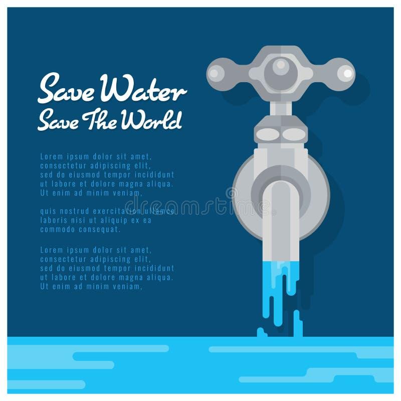 Sparen water sparen wereldbanner met water is de kraan open water vectorontwerp vector illustratie