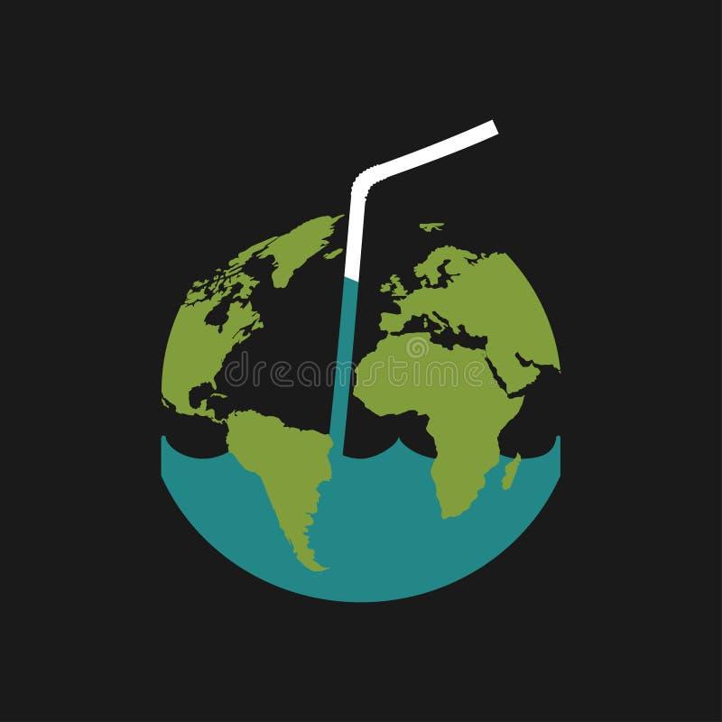 Sparen waterconcept met water die van Aarde lekken - vectorillustratie voor ecologieprojecten, onderwijsaffiches op watervoorzien royalty-vrije illustratie