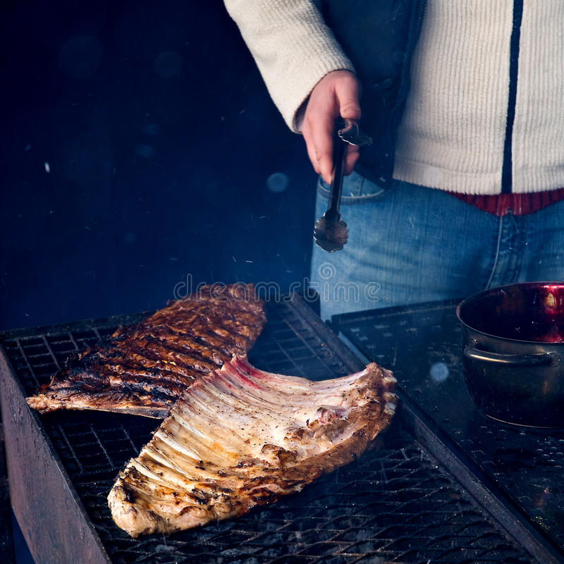 Spareribs on grill stock photo