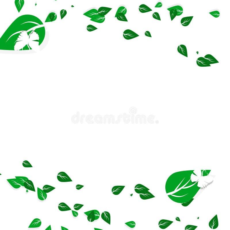 Spargimento verde della foglia con il concetto bianco della natura di arte della carta della farfalla royalty illustrazione gratis
