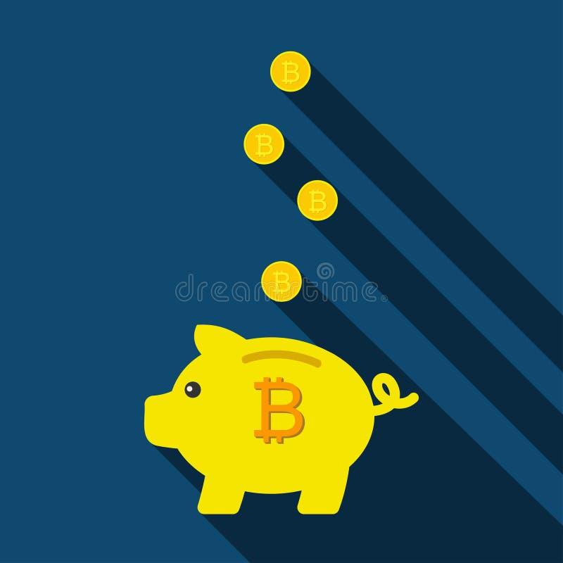 Spargris för sparande mynt Svinspargris med bitcoins också vektor för coreldrawillustration vektor illustrationer