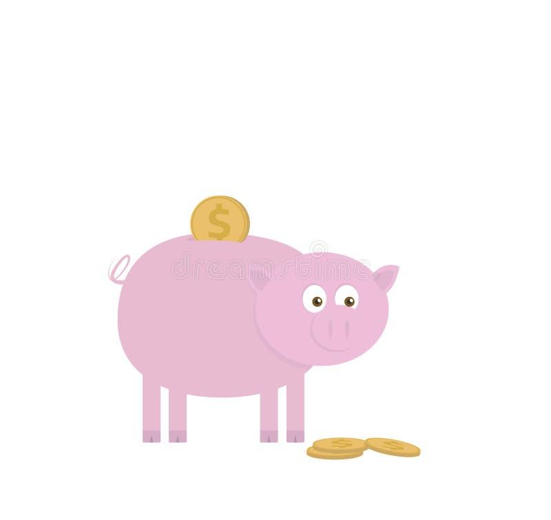 Spargris för sparande pengar Vektorillustration av det rosa svinet med guld- dollarmynt royaltyfri illustrationer