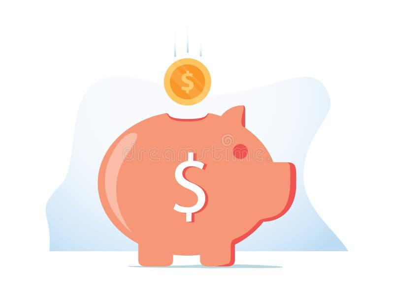 Spargris med det fallande myntet Malldesignen f?r investering, ?ppnar en bankins?ttning som h?ller eller sparar pengar vektor illustrationer