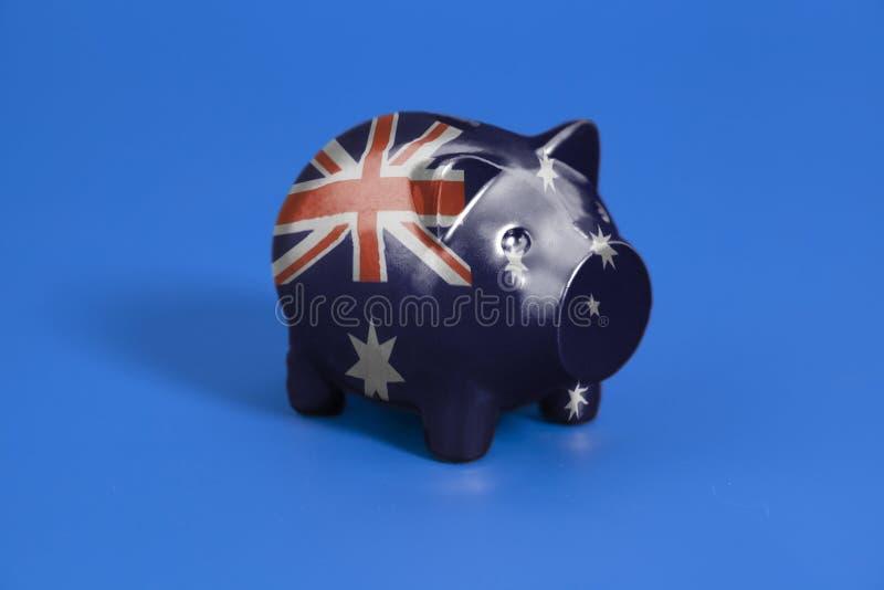 Spargris med flaggan av Australien fotografering för bildbyråer