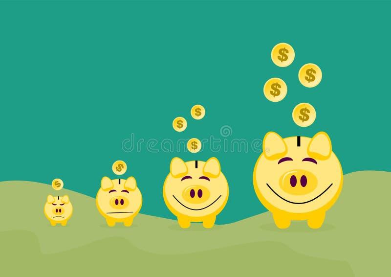 Spargris med guld- begrepp för myntbakgrundsbankrörelsen Vektor mig royaltyfri illustrationer