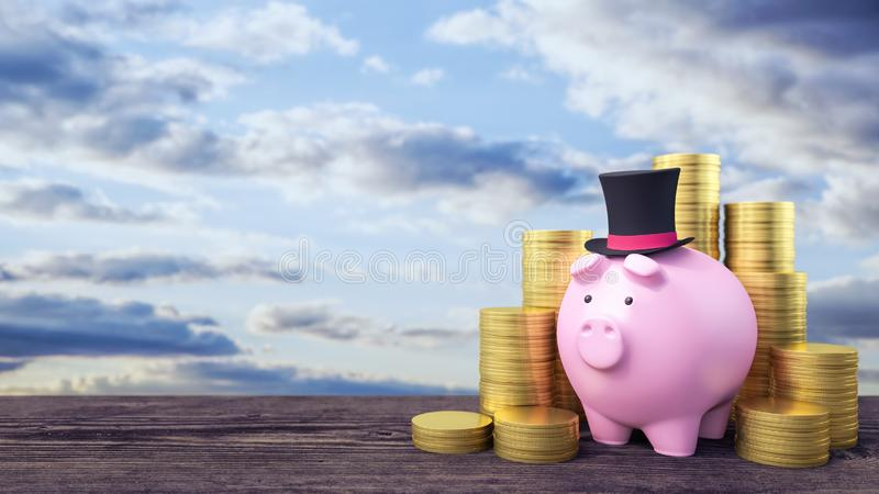 Spargris med lotten av guld- mynt, affärs- och finansbegrepp 3d att framföra stock illustrationer