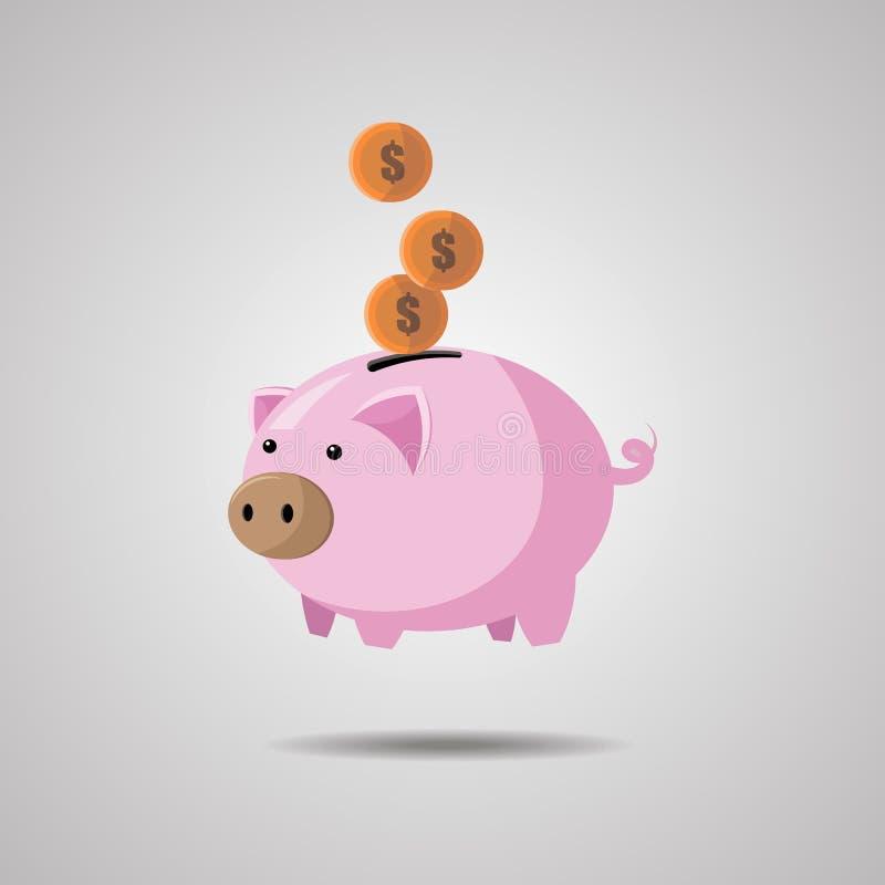 Spargris med myntvektorillustrationen i plan stil Begreppet av besparingen eller sparar pengar royaltyfri illustrationer