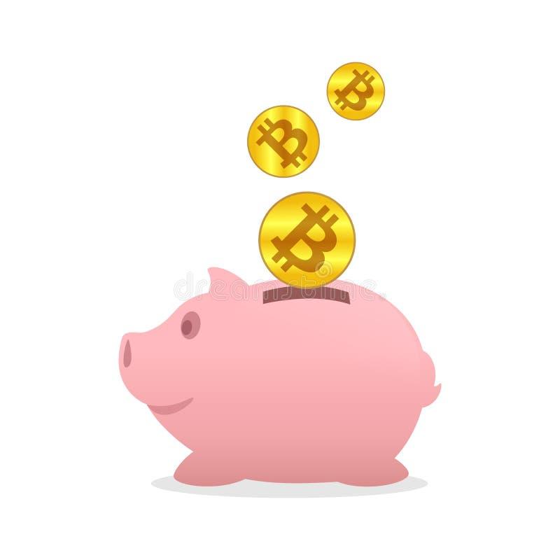 Spargris och bitcoinsymbolsguld, sparande digitalt begrepp för guld för mynt för pengarcryptocurrencybitcoin, bitcoinmyntguld öve vektor illustrationer