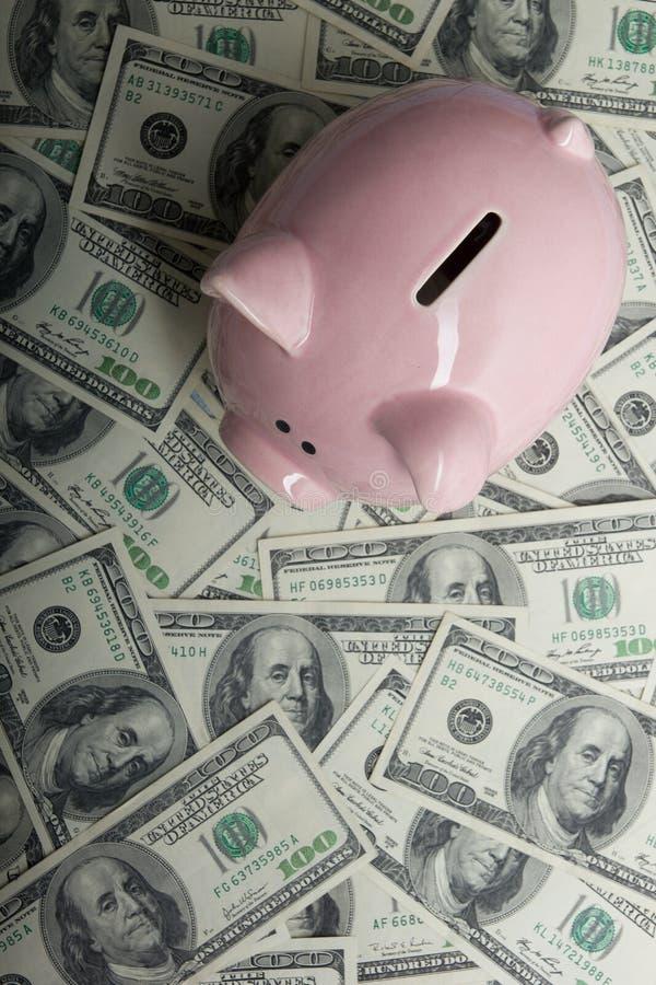Spargris och dollarkassapengar affärs-, finans-, investering-, besparing- och korruptionbegrepp arkivfoto