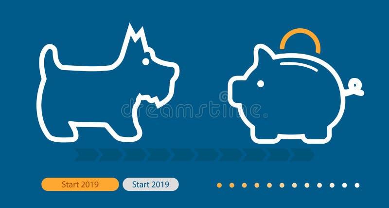 Spargris 2019 och hundsymbol Fullständigt scalable vektorsymbol i översiktsstil stock illustrationer
