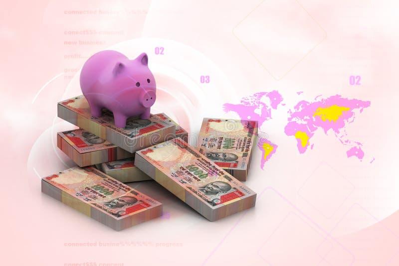 Spargris och valuta royaltyfri illustrationer