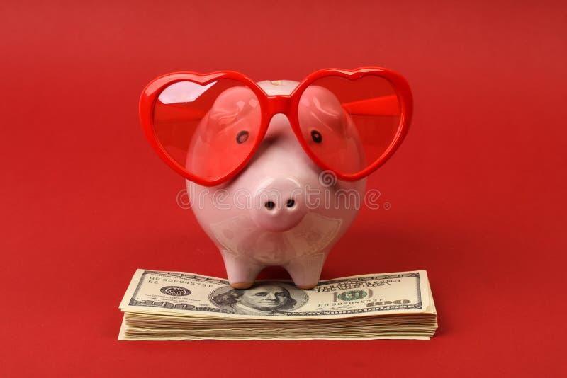 Spargris som är förälskad med röd hjärtasolglasögon som står på bunt av pengaramerikanen hundra dollarräkningar på röd bakgrund arkivbild