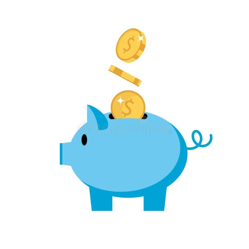 Spargris - svin med mynt, isolerad vektorillustration i plan stil, symbol för investeringen, finans stock illustrationer