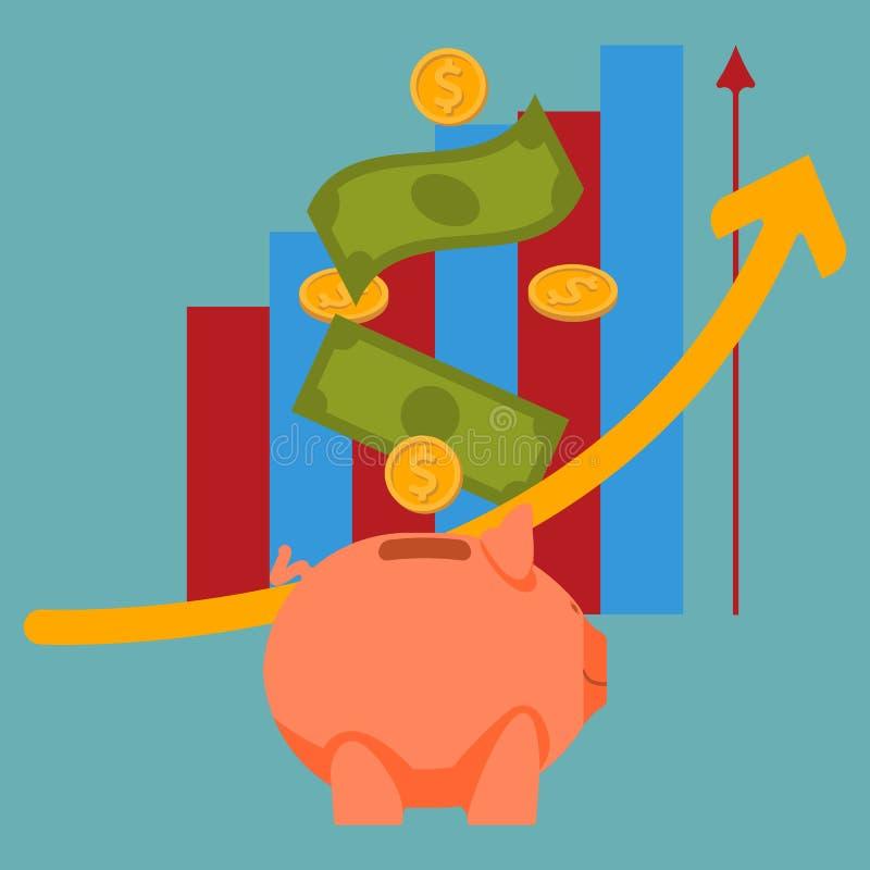 Spargrissymbolen Symbol av sparande pengar royaltyfri illustrationer