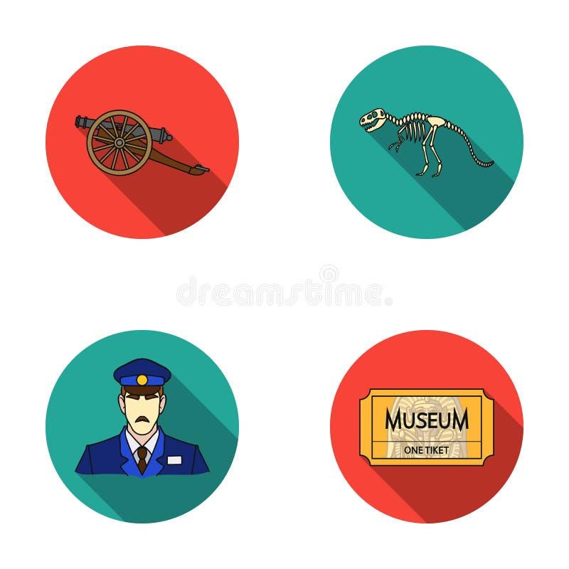 Spari sulle ruote, lo scheletro del dinosauro, guardia giurata in uniforme, biglietto di ingresso Icone stabilite della raccolta  illustrazione vettoriale