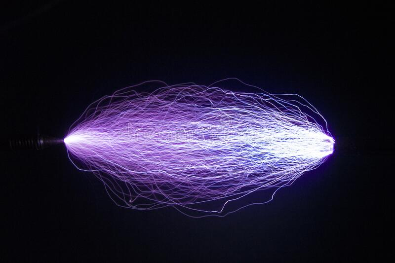 The trajectory of a spark electric discharge.. royalty free stock photo