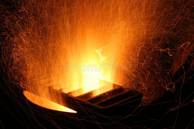 Spark explosion. From fire pit stock images