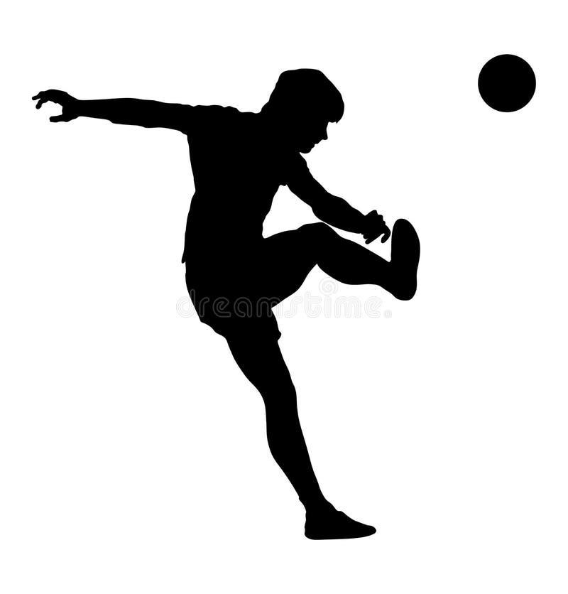Spark för kontur för fotbollspelare bollen royaltyfri illustrationer