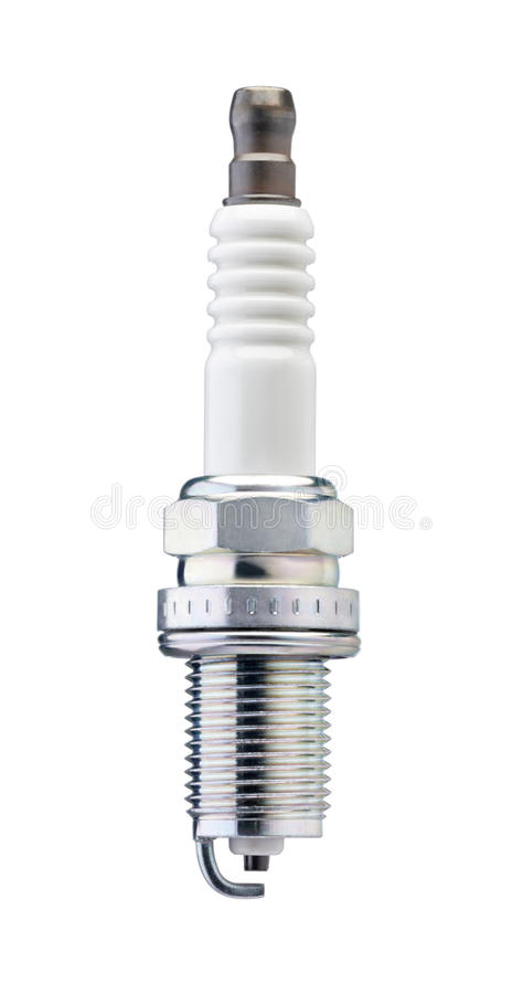Spark plug. New spark plug isolated on white background royalty free stock image
