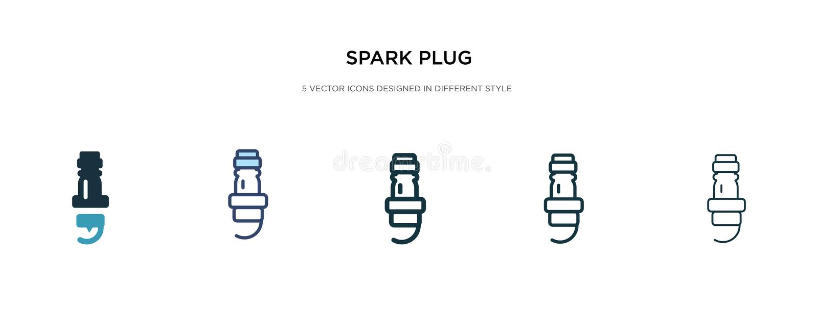 Spark plug icon in different style vector illustration. two colored and black spark plug vector icons designed in filled, outline vector illustration