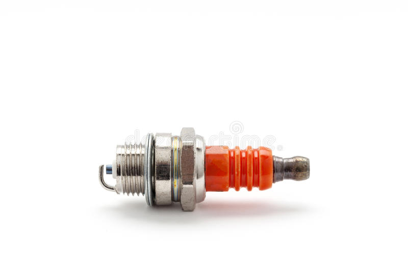 spark plug for Lawn Mower isolated on white background. royalty free stock photos