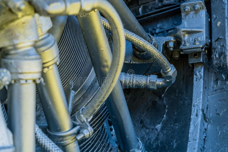 Spark plug in piston. Of radial engine that has been painted silver royalty free stock photo