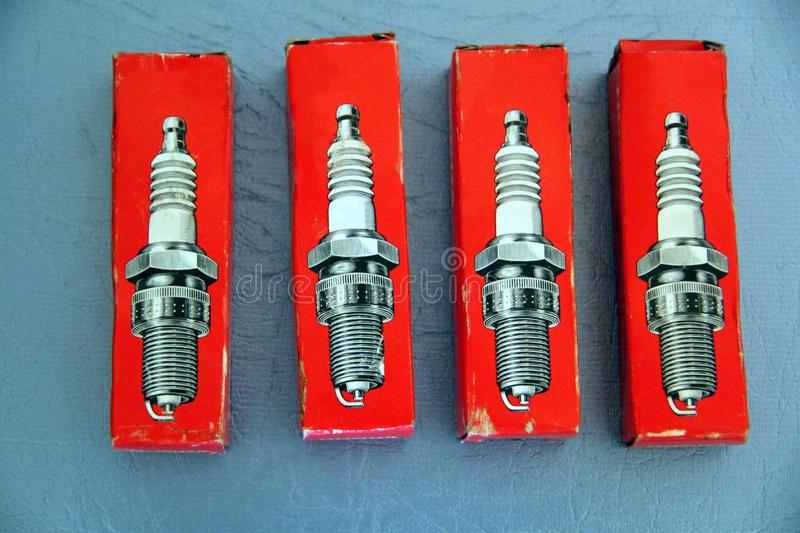 The spark plugs in the old packaging stock images