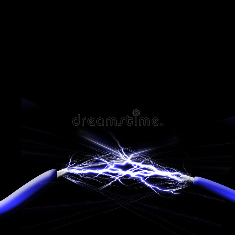 Spark between two wires vector illustration