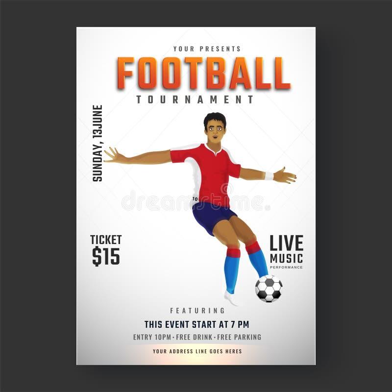 Sparkande fotboll för fotbollsspelare för nolla för fotbollturneringreklamblad vektor illustrationer