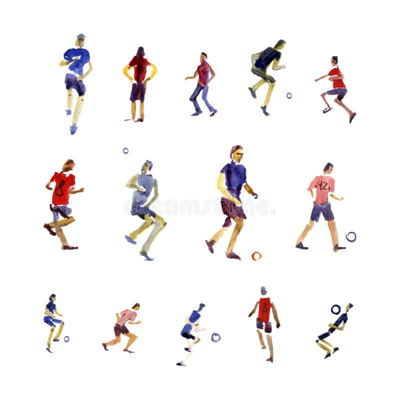 Sparkar för fotbollspelare bollen med målarfärg plaskar design Mall för modern design för vattenfärgillustration arkivbild