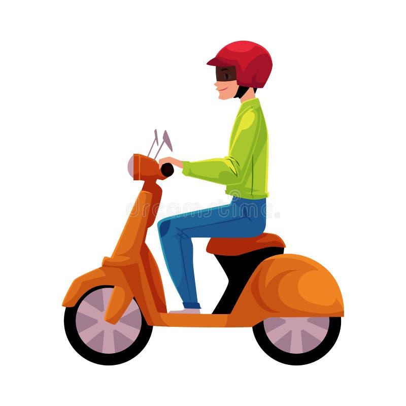Sparkcykel bärande hjälm för vara nedstämd motorisk cykelryttare, sidovew vektor illustrationer