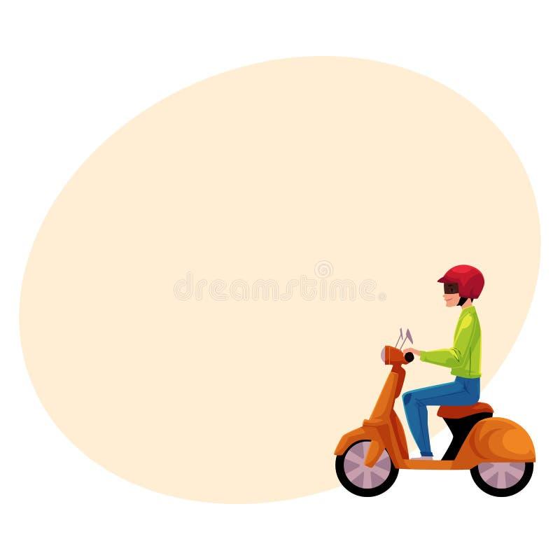 Sparkcykel bärande hjälm för vara nedstämd motorisk cykelryttare, sidovew stock illustrationer