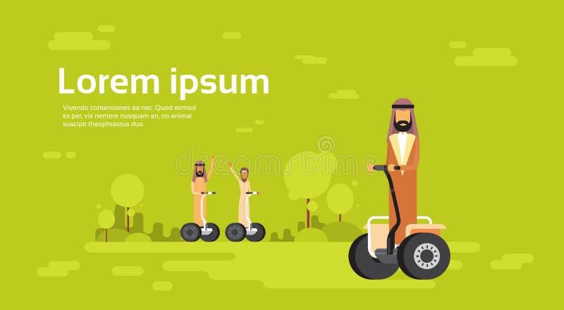 Sparkcykel för elkraft för ritt för kvinna för man för arabisk folkgrupp arabisk vektor illustrationer