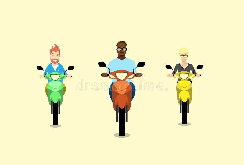 Sparkcykel för motorcykel för ritt för folkgruppman stock illustrationer