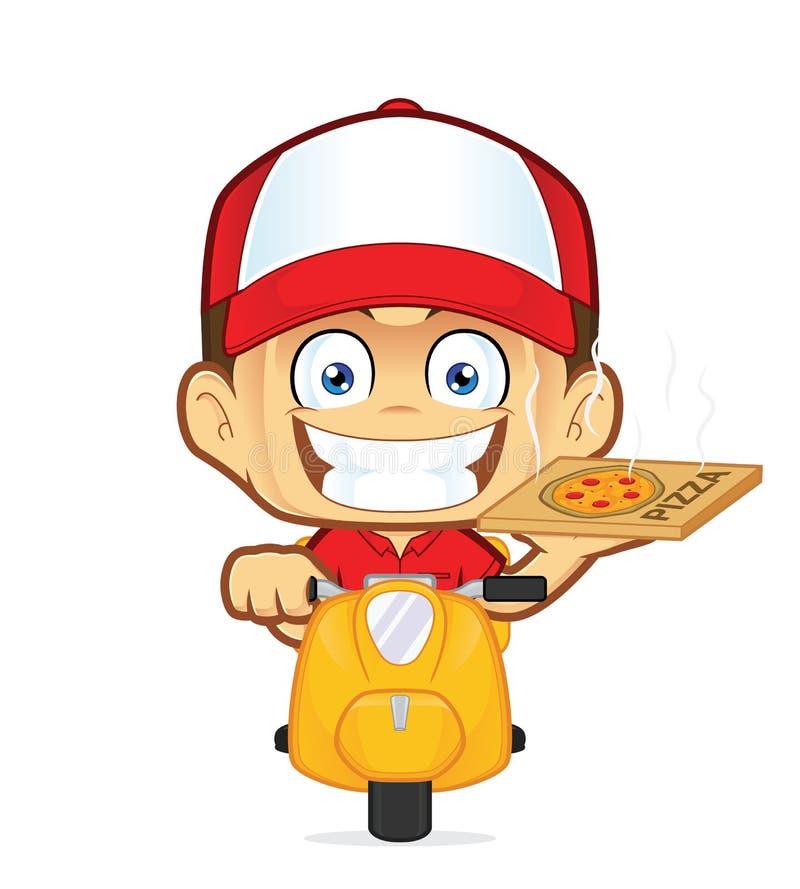 Sparkcykel för ridning för kurir för pizzaleveransman royaltyfri illustrationer