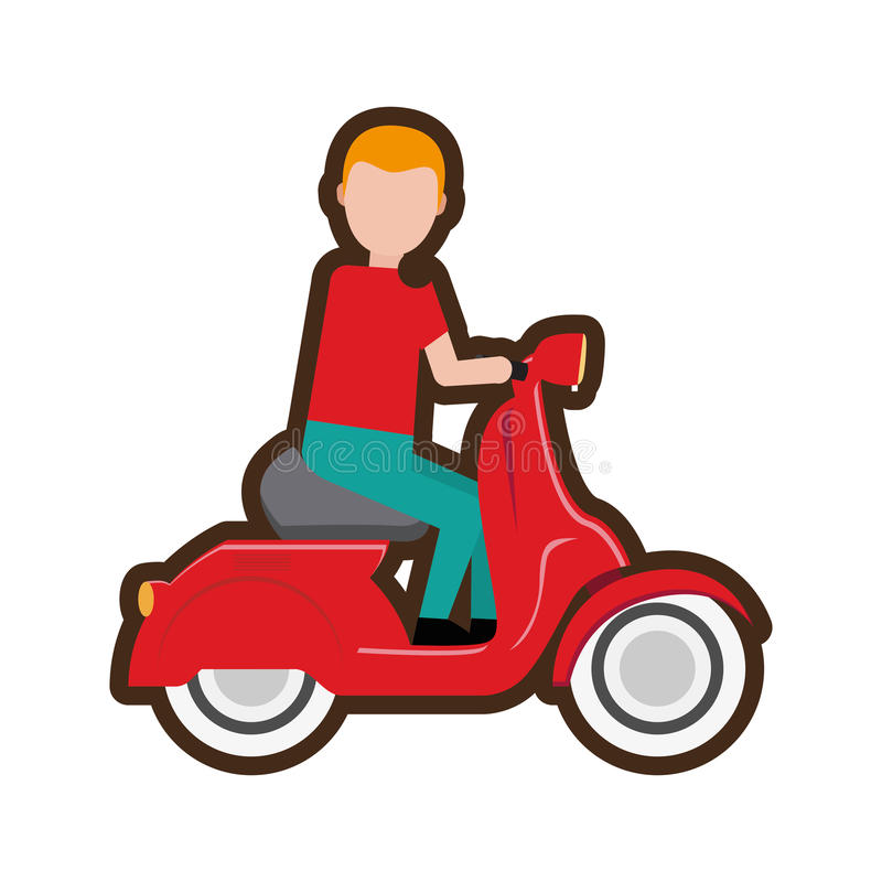 sparkcykel för ridning för tecknad filmleveranspojke royaltyfri illustrationer