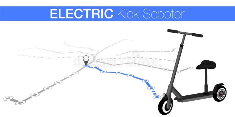 Sparkcykel för spark för dela för bil grå skjut sparkcykeln Ekologitransportbegrepp Eco stadstransport ocks? vektor f?r coreldraw royaltyfri illustrationer