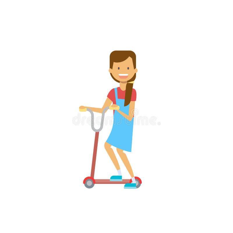 Sparkcykel för ung flickaridningspark över vit bakgrund fullt längdtecken för tecknad film Plan stil vektor illustrationer