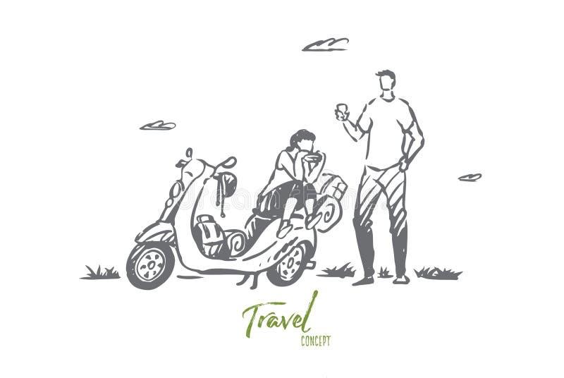 Sparkcykel lopp, par, affärsföretag, rittbegrepp Hand dragen isolerad vektor vektor illustrationer