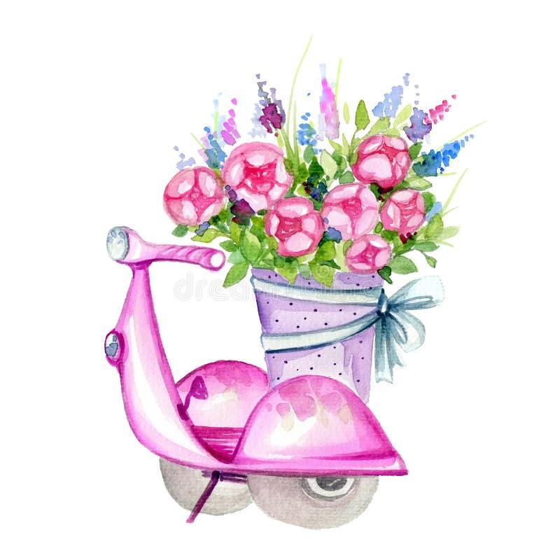 Sparkcykel med blommor vektor illustrationer