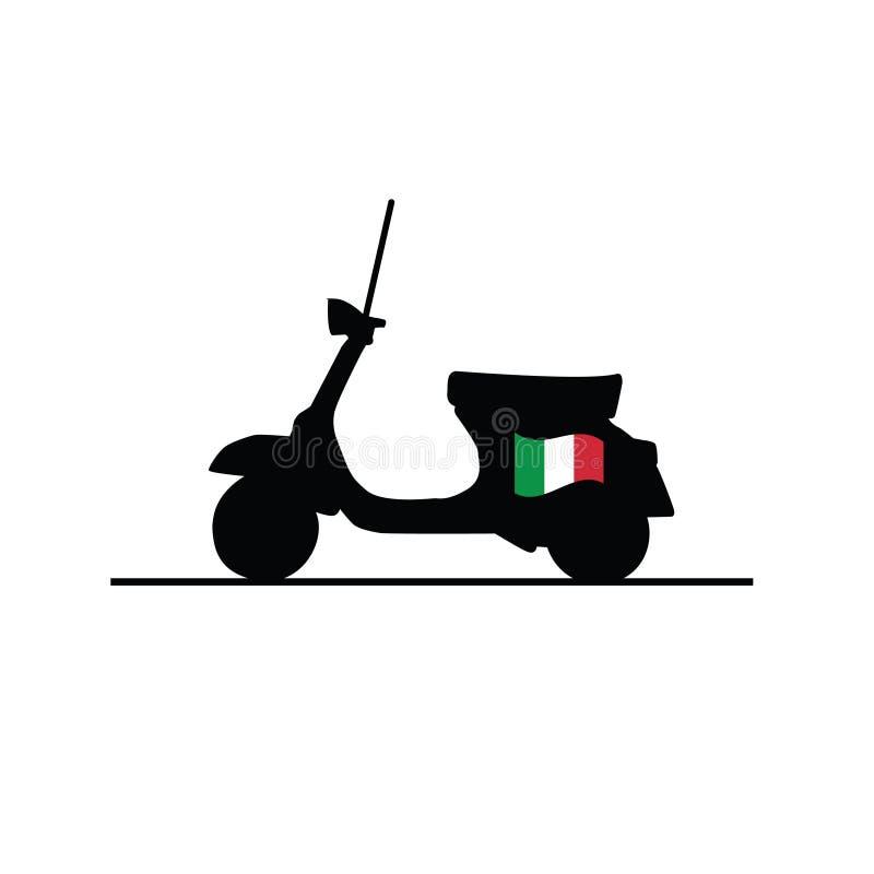 Sparkcykel med den Italien flaggan royaltyfri illustrationer