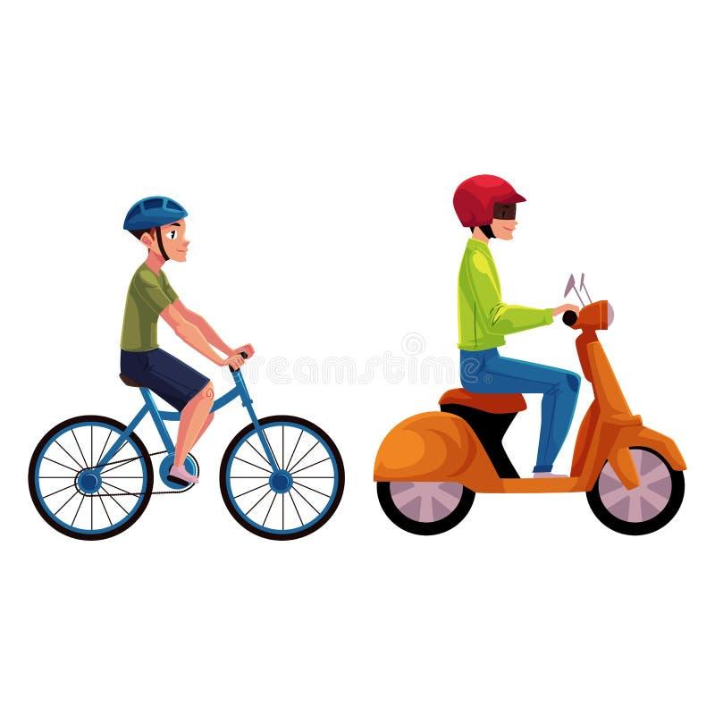 Sparkcykel- och cykelryttare, chaufförer, ryttare som bär hjälmen, sidovew royaltyfri illustrationer