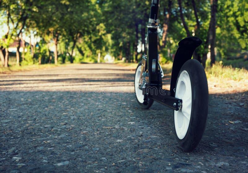 Sparkcykel på den gråa asfalten royaltyfri fotografi