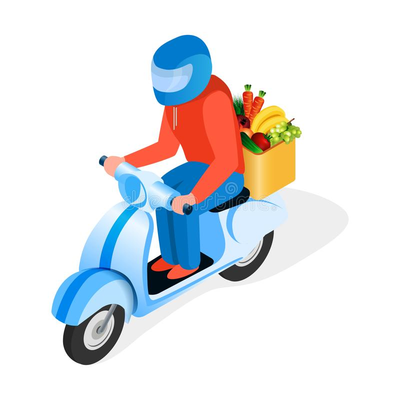 Sparkcykel Rider Delivers Food Isometric Illustration royaltyfri illustrationer