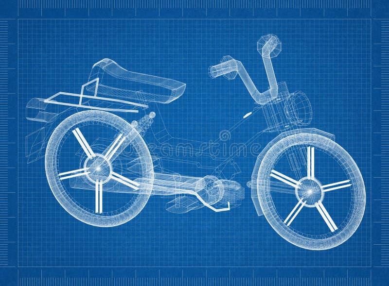 Sparkcykel - vara nedstämd arkitektritning royaltyfri illustrationer