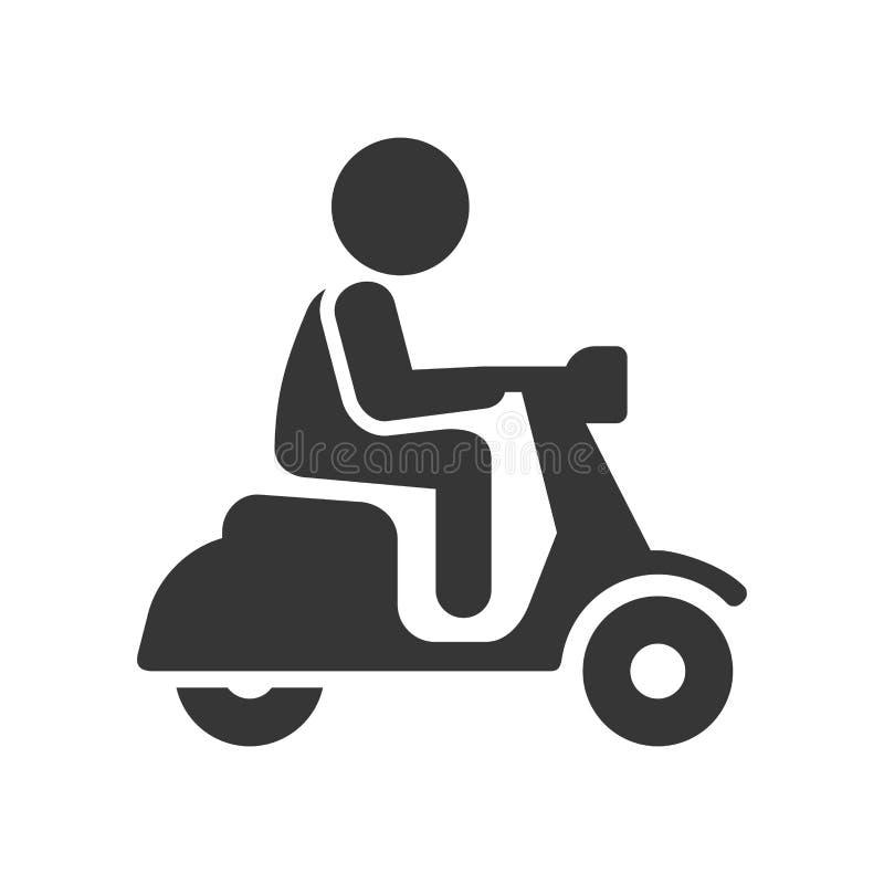 SparkcykelchaufförStick Figure Man symbol på vit bakgrund vektor stock illustrationer