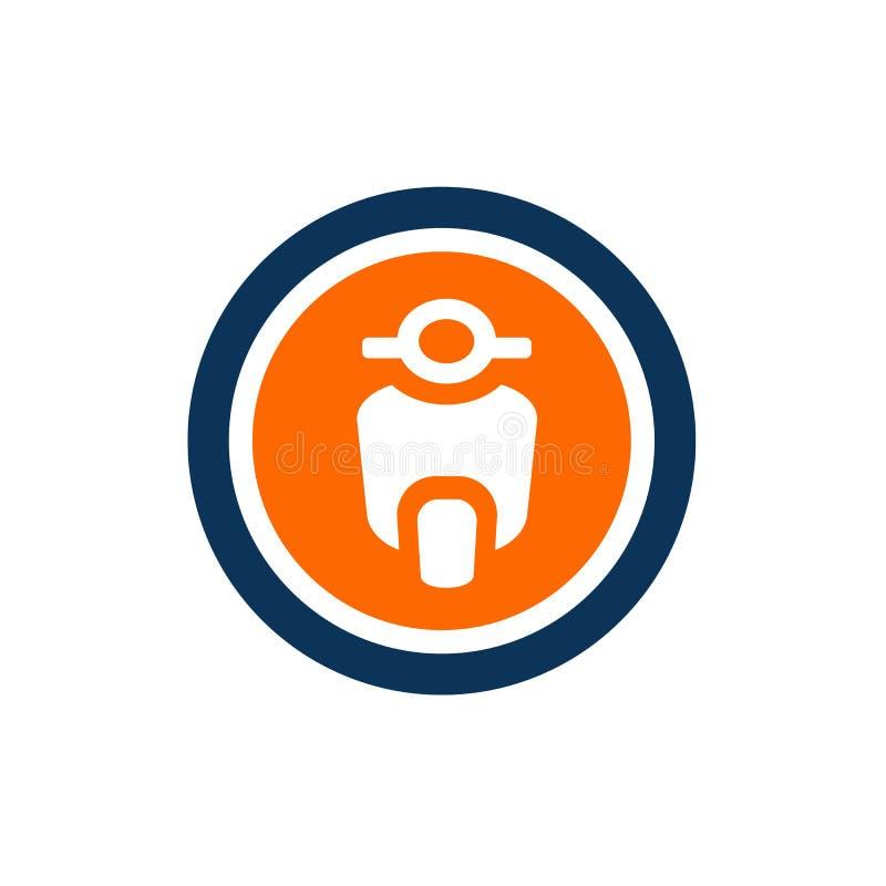 Sparkcykelcykel, Motorcyle och cirkel Shape, vektor Logo Design, symbolsbegrepp royaltyfri illustrationer