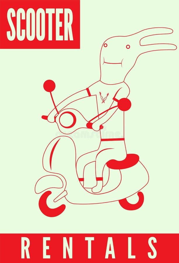 Sparkcykelhyraaffisch Rolig tecknad filmkanin som rider en sparkcykel också vektor för coreldrawillustration royaltyfri illustrationer